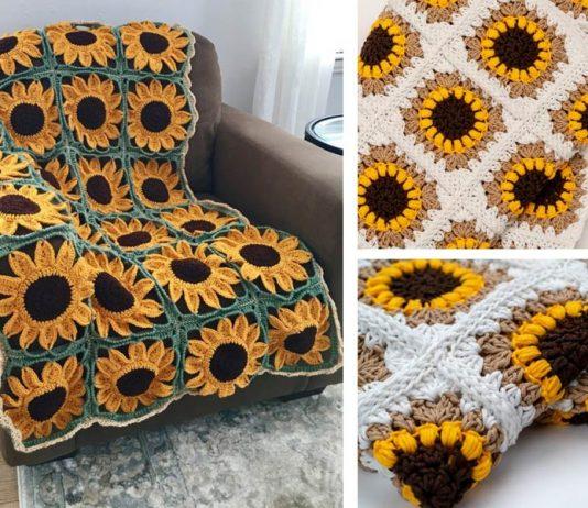 Sunflower Square Blanket Crochet Free Pattern