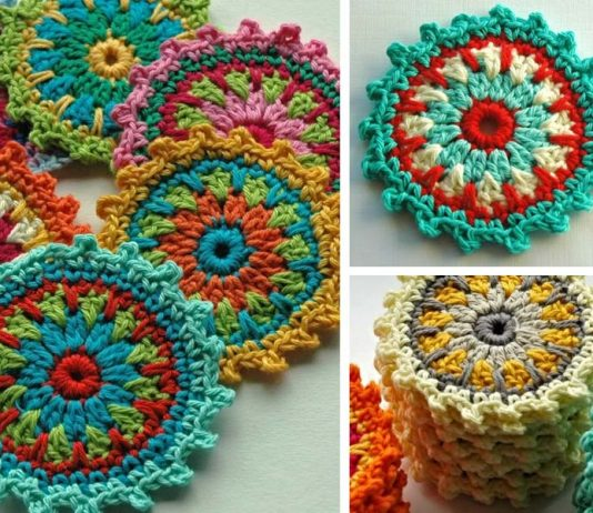 Flower Motif Coasters Free Crochet Pattern