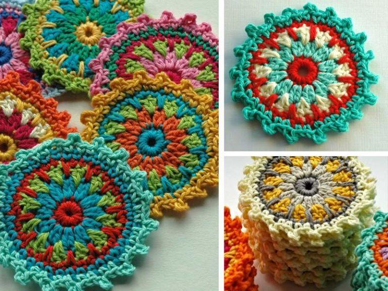 Flower Motif Coasters Free Crochet Pattern