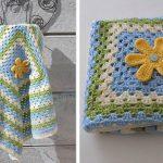 Granny Blanket with Flower Crochet Free Pattern
