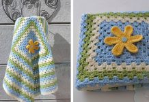 Granny Blanket with Flower Crochet Free Pattern