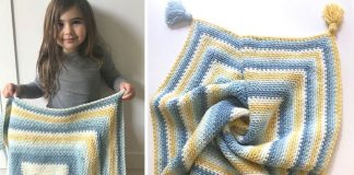 Moss Stitch Square Crochet Blanket Free Pattern