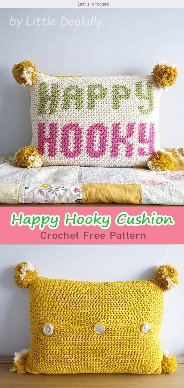 Happy Hooky Cushion Crochet Free Pattern