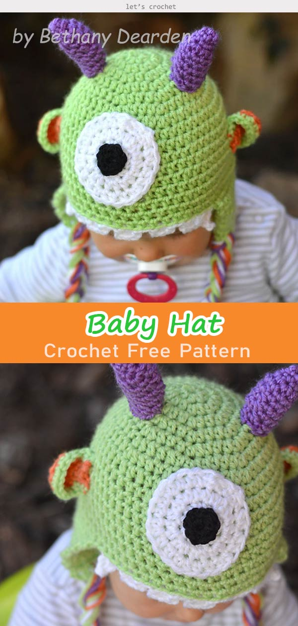 Littlest Monster Baby Hat Crochet Free Pattern