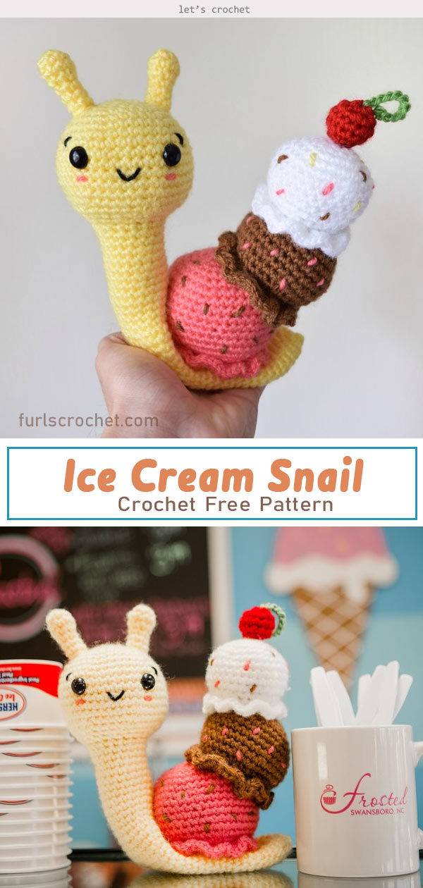 Amigurumi Ice Cream Snail Crochet Free Pattern
