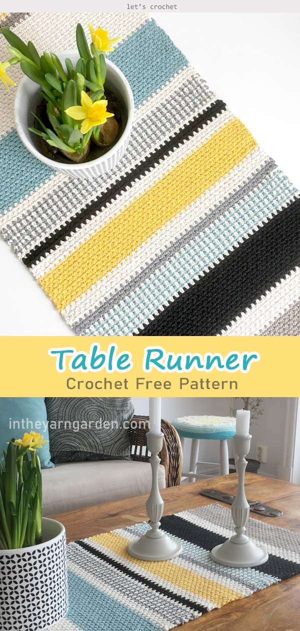 Moss Stitch Table Runner Crochet Free Pattern