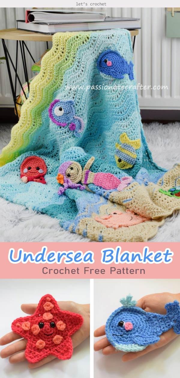 Undersea Sweetness Appliques Baby Blanket Crochet Free Pattern