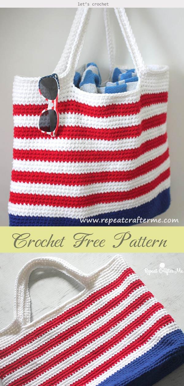 Crochet Patriotic Tote Bag Free Pattern