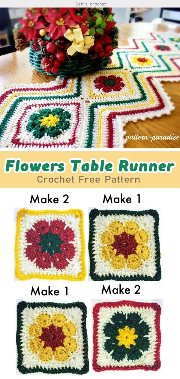 Flowers Table Runner Crochet Free Pattern