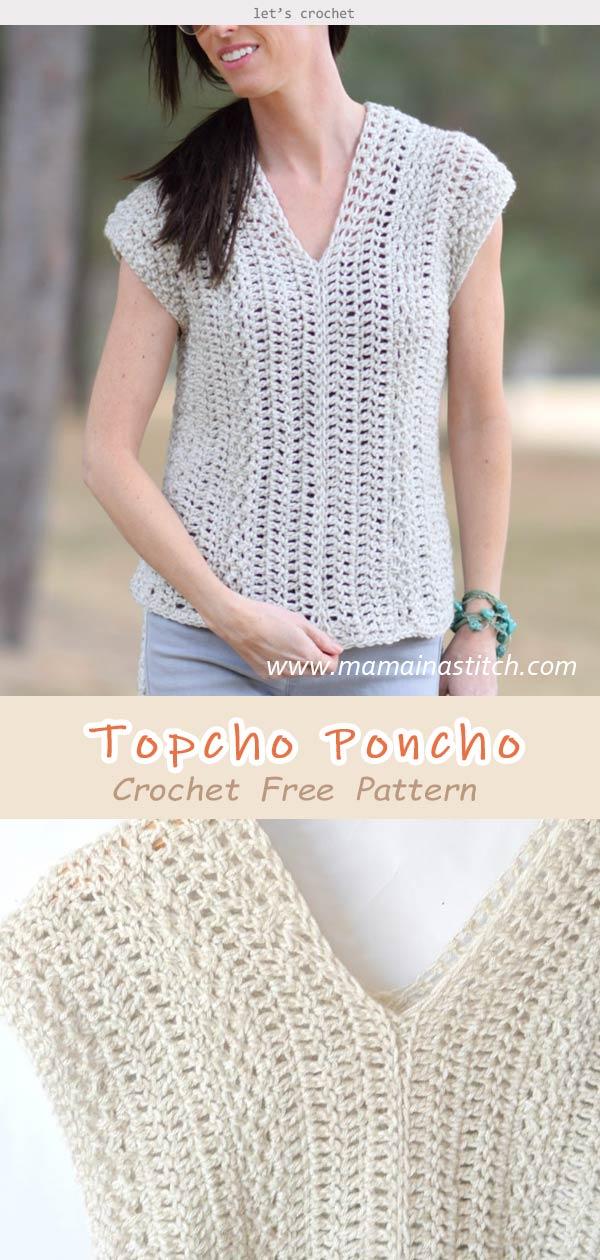 Topcho Poncho Shirt Crochet Free Pattern