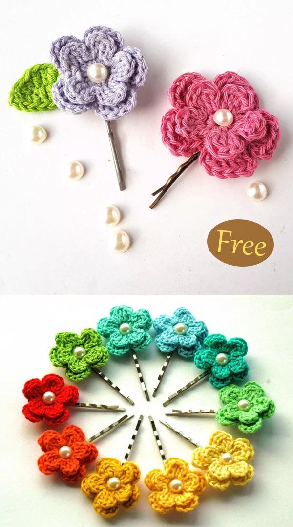 Spring Flower Hair Clips – Free Crochet Pattern