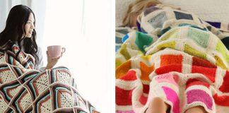 Stripy Texture Motif Blanket Free Crochet Pattern