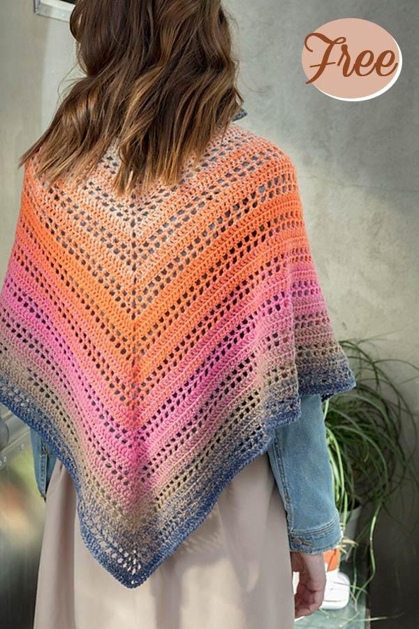 Rosy Dawn Shawl Free Crochet Pattern