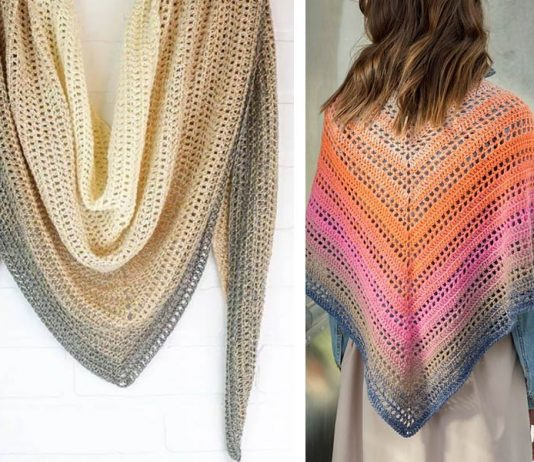 Rosy Dawn Shawl Free Crochet Pattern