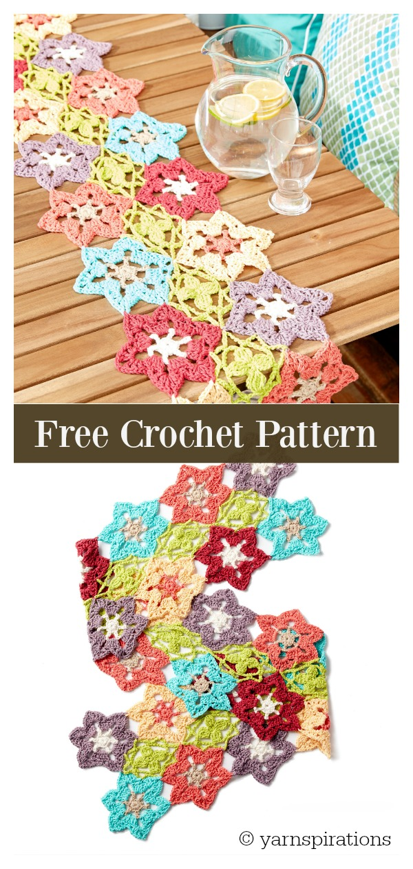 Flower Power Tablet Runner Free Crochet Pattern