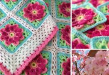 Strawberries in Spring Blossom Flower Crochet Free Pattern