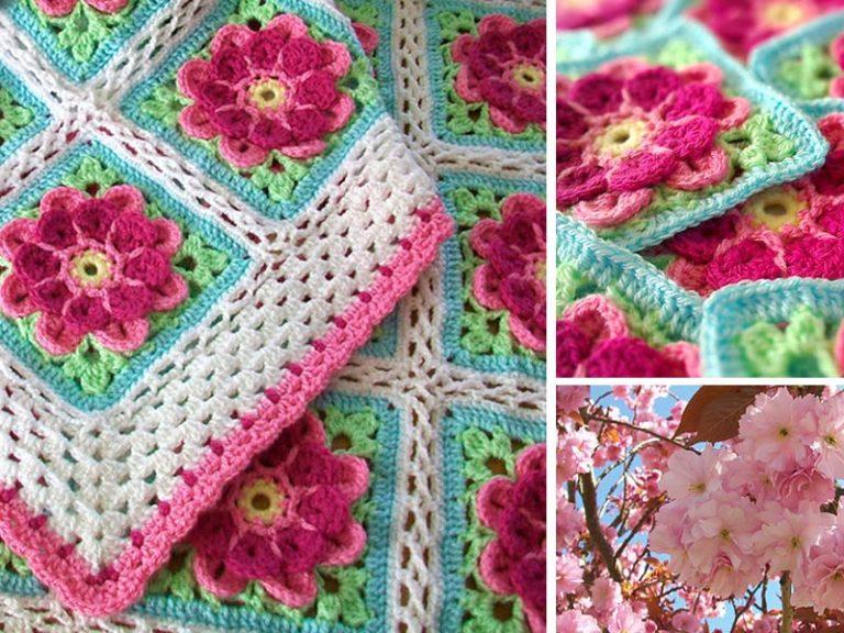 Strawberries in Spring Blossom Flower Crochet Free Pattern
