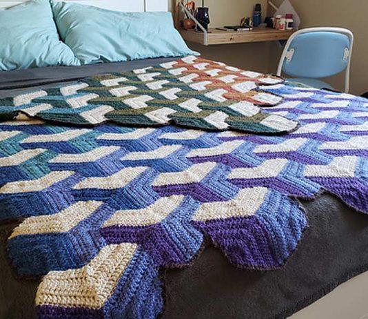 Tumbling Blocks Blanket Crochet Free Pattern