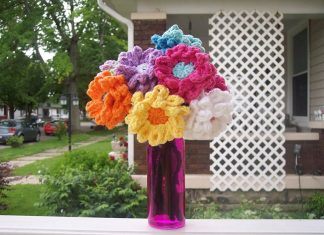 Crochet Color Flowers Free Pattern for Mom
