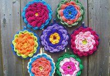 Fanciful Flower Potholders Crochet Free Pattern