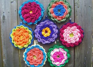 Fanciful Flower Potholders Crochet Free Pattern