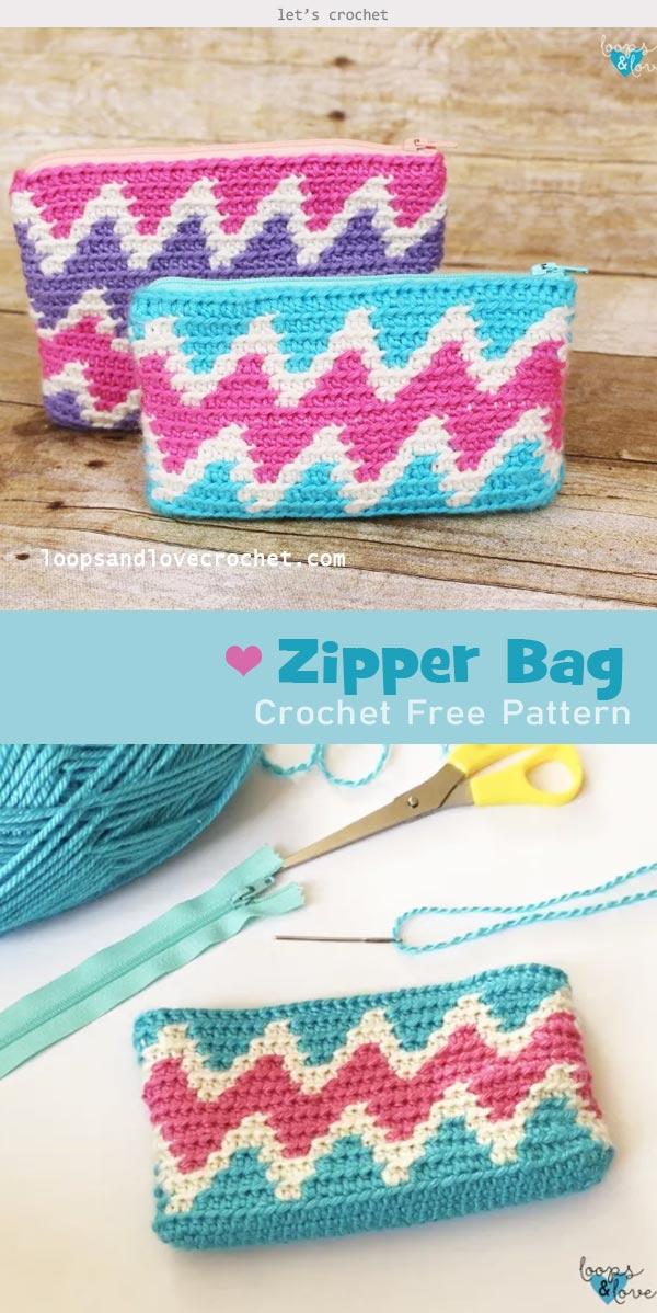 Zipper Bag Crochet Free Pattern