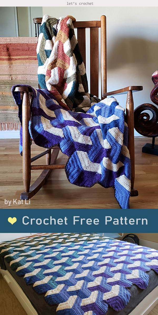 Tumbling Blocks Blanket Crochet Free Pattern