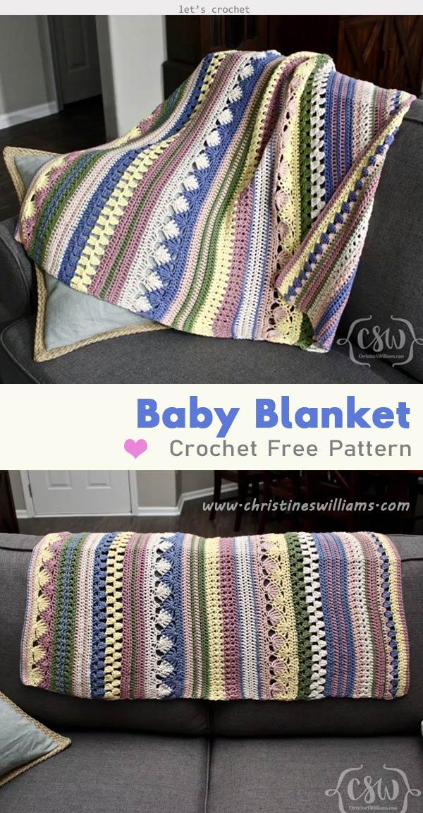 Boho Striped Baby Blanket Crochet Free Pattern