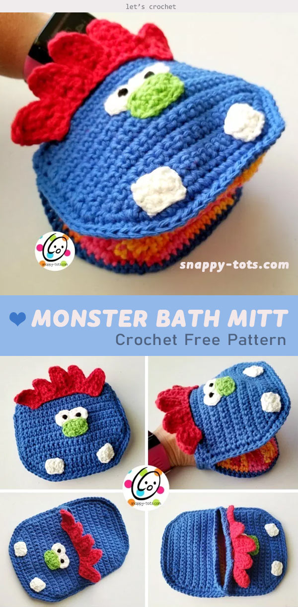 Monster Bath Mitt Free Crochet Pattern