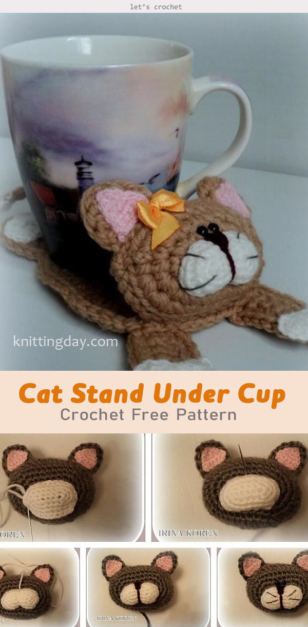 Cat Stand Under the Cup Crochet Free Pattern