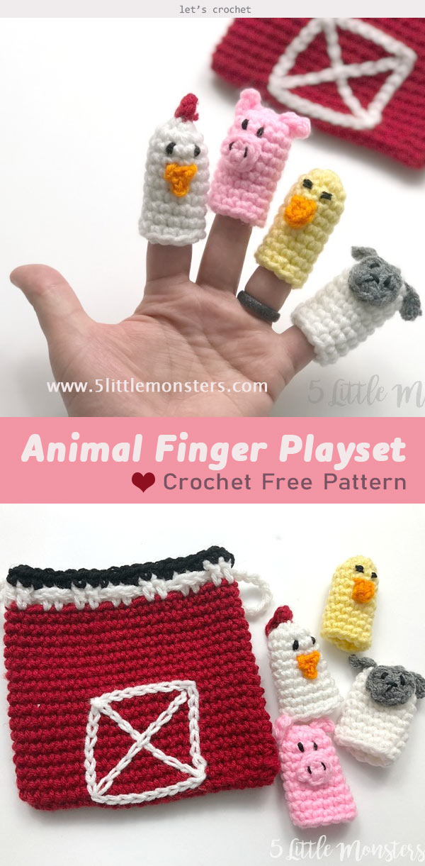 Farm Animal Finger Puppet Playset Crochet Free Pattern