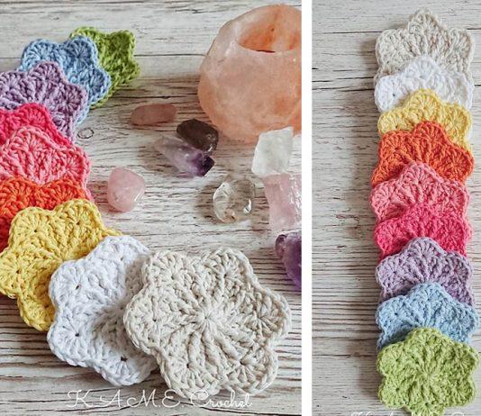 Sakura Face Scrubbies Flower Crochet Free Pattern