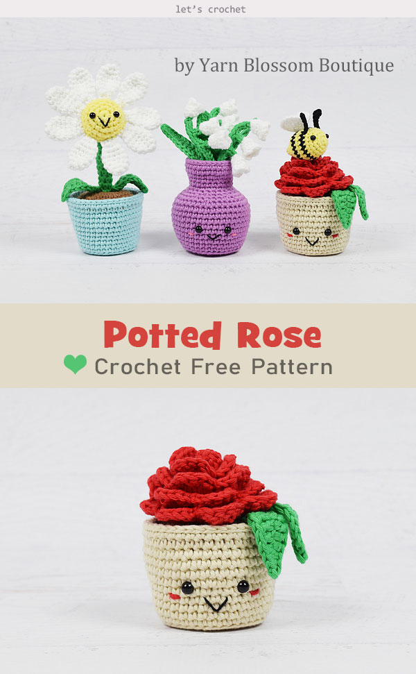 Potted Rose Free Crochet Pattern