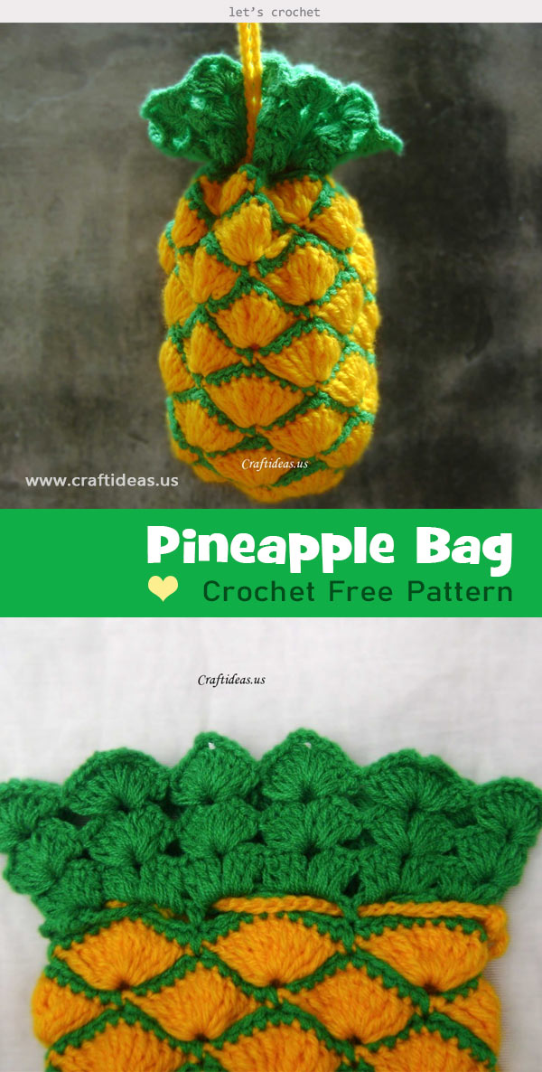 Crochet pineapple bag tutorial Free Pattern