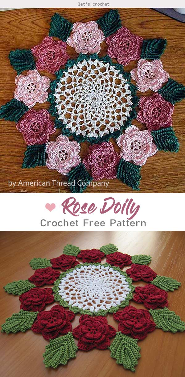 Rose Doily Flower Free Crochet Pattern