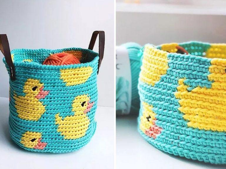 Ducky Basket Crochet Free Pattern