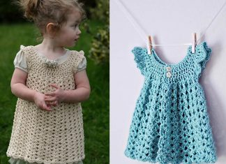 Angel Wings Pinafore Baby Dress Crochet Free Pattern