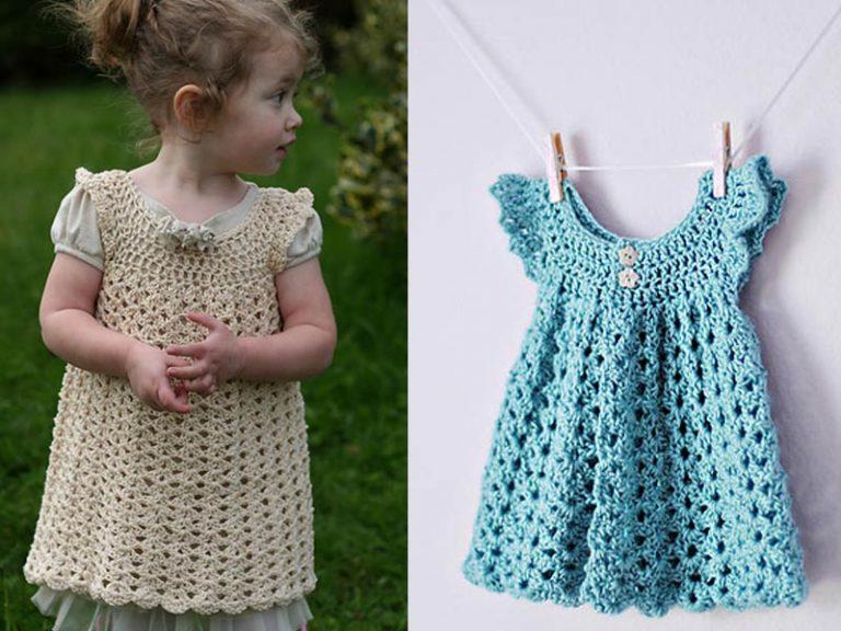 Angel Wings Pinafore Baby Dress Crochet Free Pattern