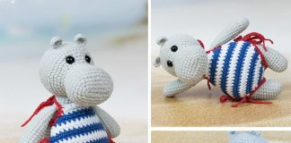 Hippo in Swimsuit Crochet Free Pattern