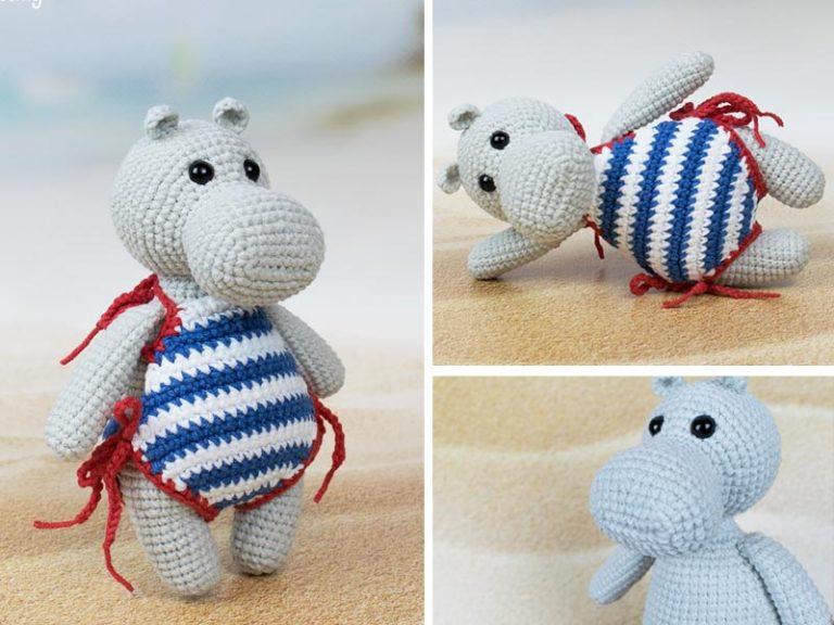 Hippo in Swimsuit Crochet Free Pattern
