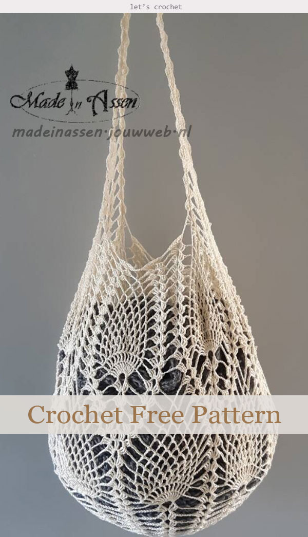 Pineapple Stitch Tote Bag Crochet Free Pattern