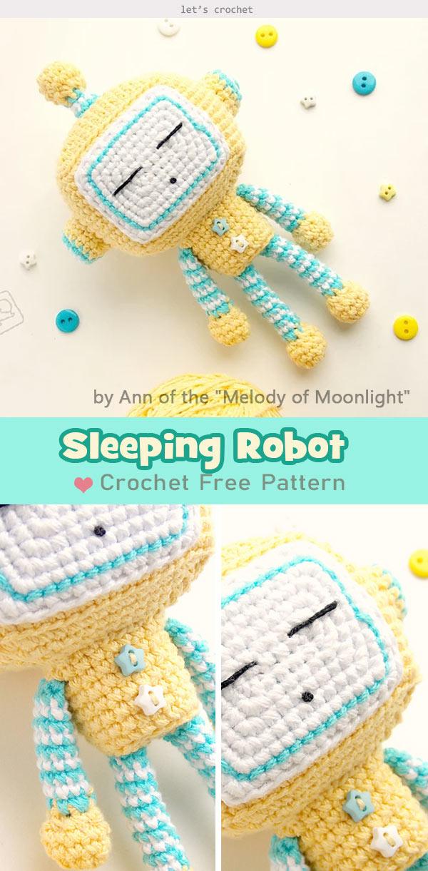 Sleeping Robot Free Crochet Pattern