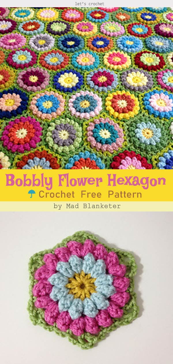 Bobbly Flower Hexagon Crochet Free Pattern