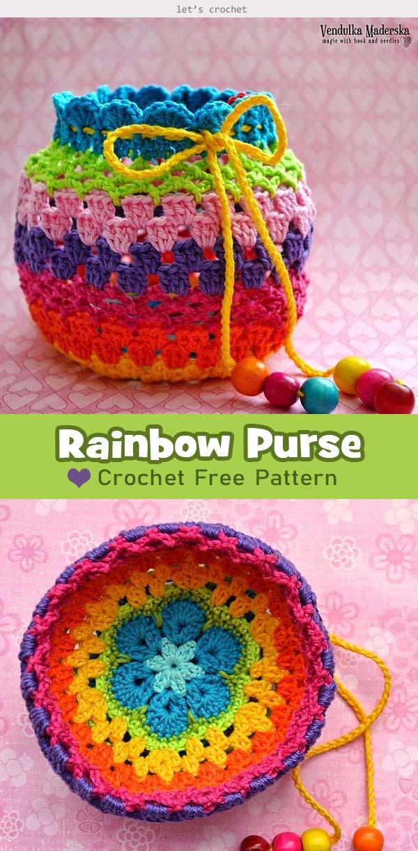 Rainbow Pouch Crochet Free Pattern