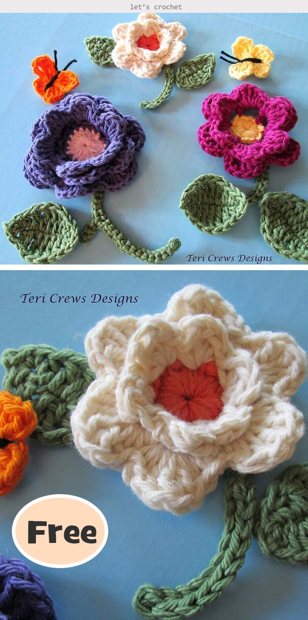 Flowers and Butterflies Crochet Free Pattern
