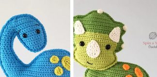 Triceratops and Brachioaurus dinosaur Crochet Free Pattern