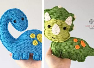 Triceratops and Brachioaurus dinosaur Crochet Free Pattern