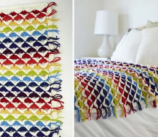 Rainbow Chic throw Crochet Free Pattern