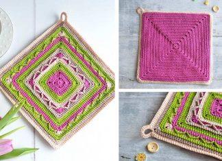 Tulip Potholder Square Free Crochet Pattern