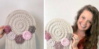 Crafty Boho Flower Wall Hanger Free Crochet Pattern